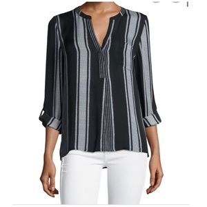 Joie Oden Stripe Silk Blouse Grey/Black Xlnt!
